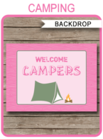 "Camping Party Backdrop – ""Welcome Campers"" – 36×48 inches + A0 – pink"