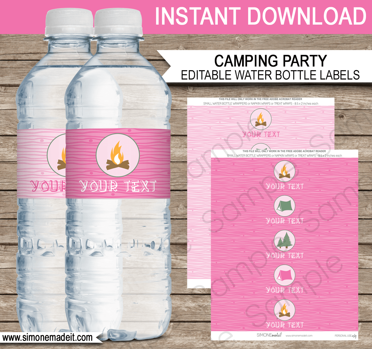 Pink girl camping party water bottle labels editable for How to put labels on water bottles