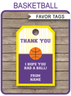 Basketball Thank You Tags Template – purple/yellow