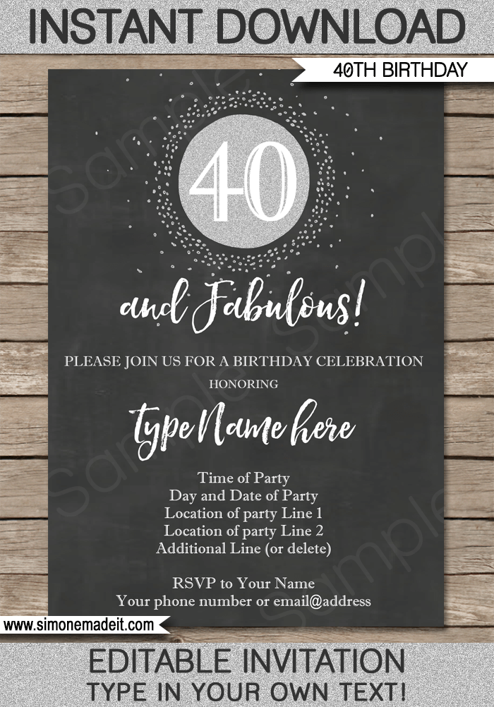 Chalkboard 40th Birthday Invitation Template | Forty and Fabulous | Chalkboard and silver glitter | Editable & Printable DIY Template | INSTANT DOWNLOAD $7.50 via simonemadeit.com