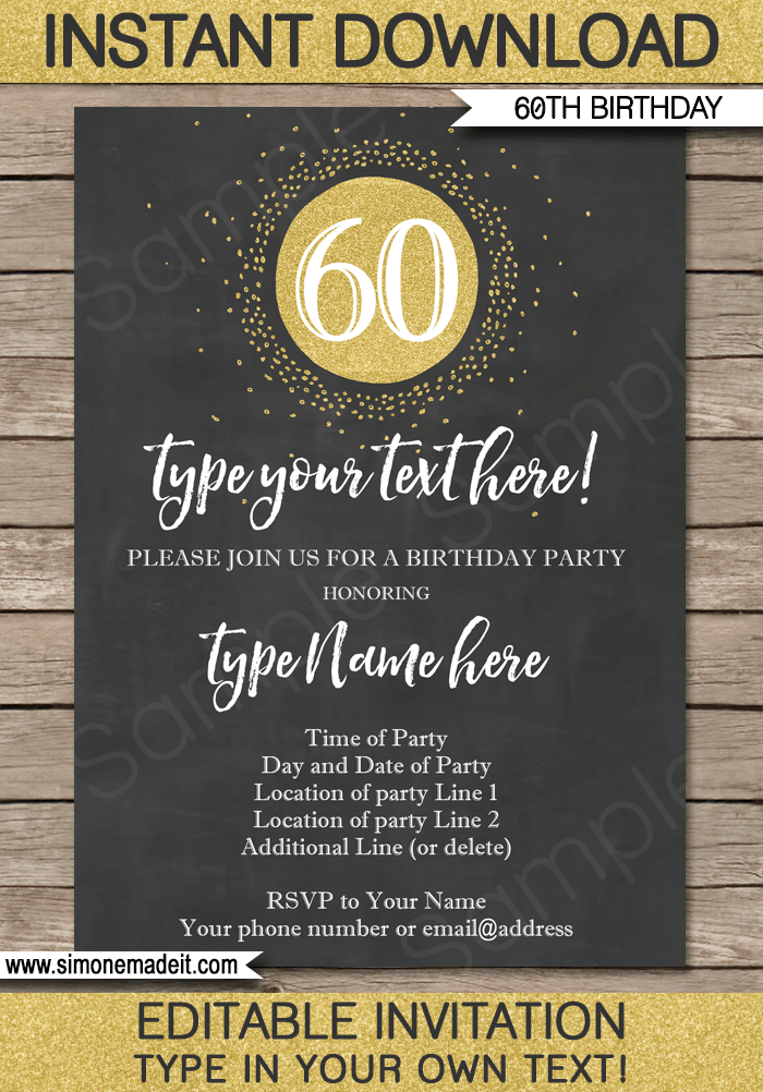 Chalkboard 60th Birthday Invitations Template | Chalkboard and gold glitter | Editable & Printable DIY Template | INSTANT DOWNLOAD $7.50 via simonemadeit.com