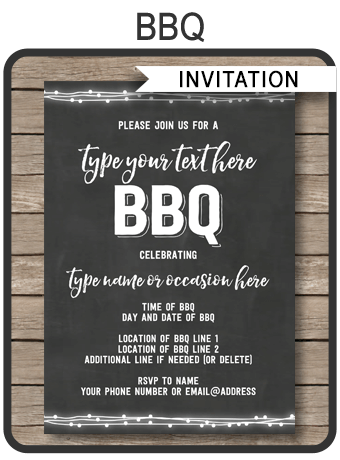 Chalkboard Bbq Invitations Template Editable And