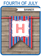 4th of July Party Banner Template - Fourth of July BBQ - Editable and Printable DIY Template - INSTANT DOWNLOAD $4.50 via simonemadeit.com