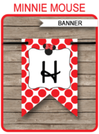 Minnie Mouse Birthday Banner Template - Red - Happy Birthday Banner - Birthday Party - Editable and Printable DIY Template - INSTANT DOWNLOAD $4.50 via simonemadeit.com