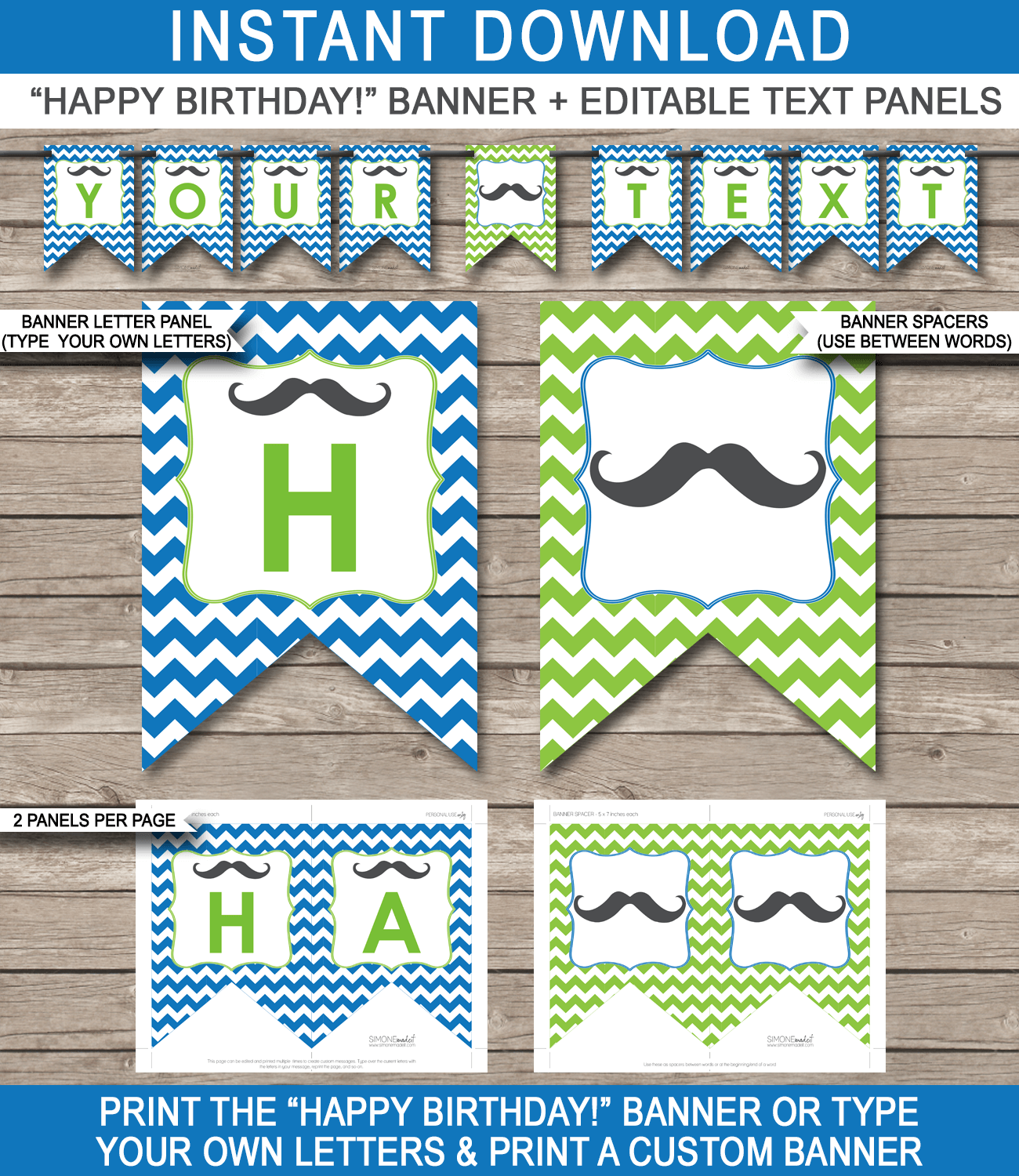 mustache party banner template