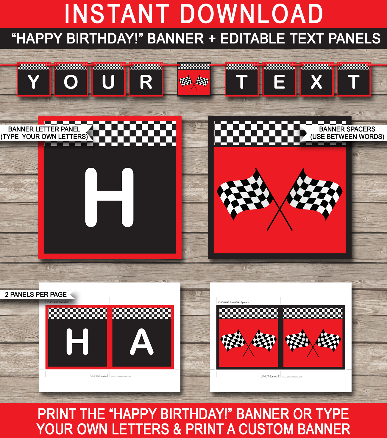 Race Car Party Banner Template Birthday Banner Editable Bunting