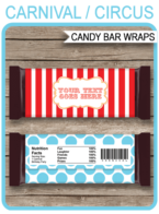 Circus Hershey Candy Bar Wrappers template – red & aqua