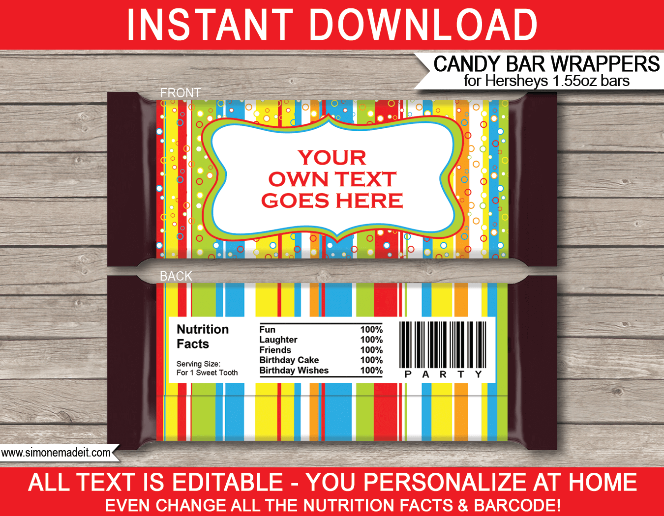 Colorful hershey candy bar wrappers personalized candy bars for Personalized chocolate wrappers template