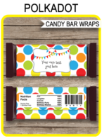 Polkadot Hershey Candy Bar Wrappers template