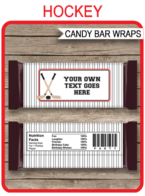 Hockey Hershey Candy Bar Wrappers template – red & black