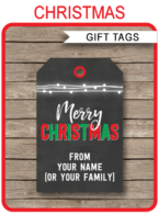 Christmas Chalkboard Gift Tag Templates – red & green