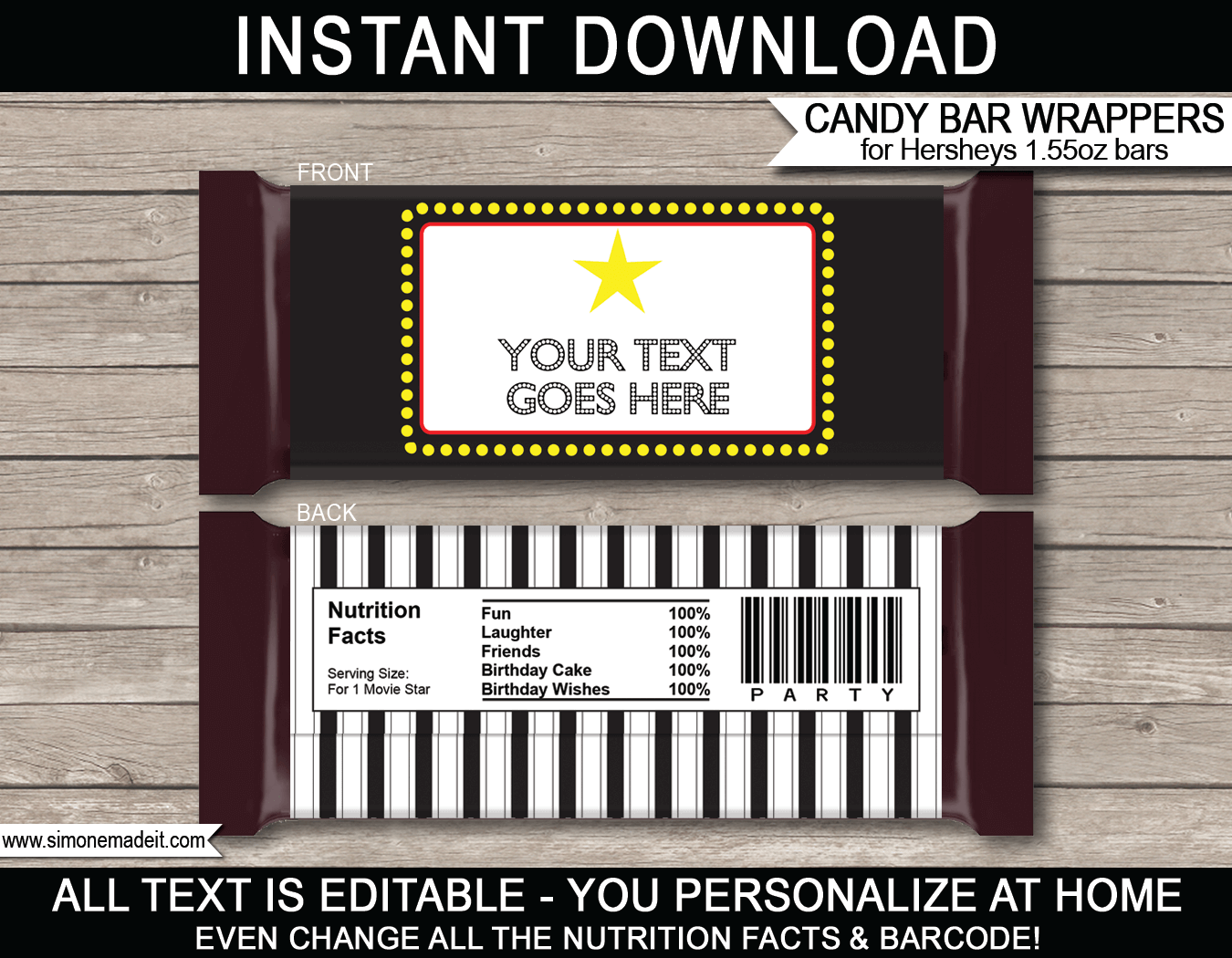 custom candy wrappers templates - movie hershey candy bar wrappers personalized candy bars