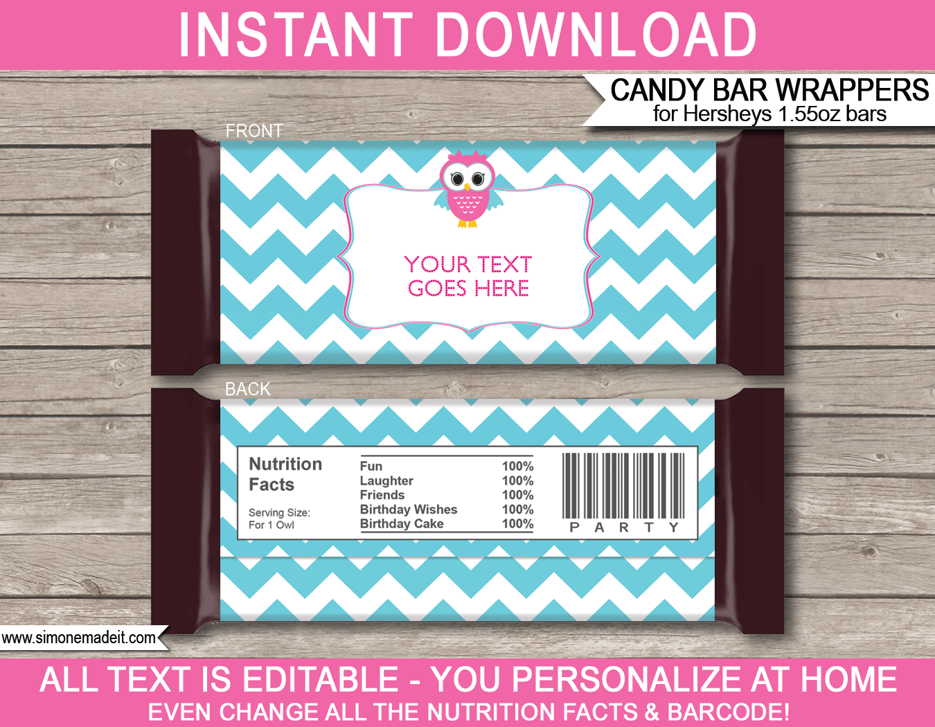 Owl hershey candy bar wrappers personalized candy bars for Personalized chocolate wrappers template
