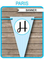 Paris Party Banner template – blue