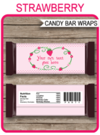 Strawberry Hershey Candy Bar Wrappers | Birthday Party Favors | Personalized Candy Bars | Editable Template | INSTANT DOWNLOAD $3.00 via simonemadeit.com