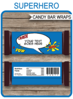 Superhero Hershey Candy Bar Wrappers | Blue Red Yellow | Birthday Party Favors | Personalized Candy Bars | Editable Template | INSTANT DOWNLOAD $3.00 via simonemadeit.com