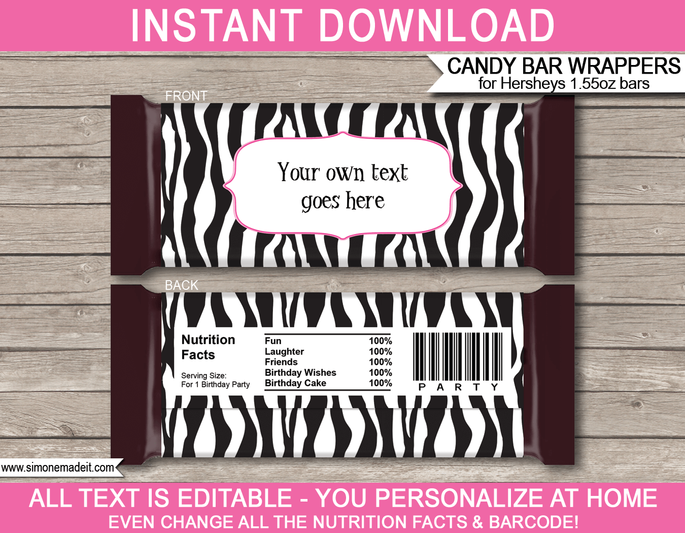 Zebra hershey candy bar wrappers personalized candy bars for Custom candy wrappers templates
