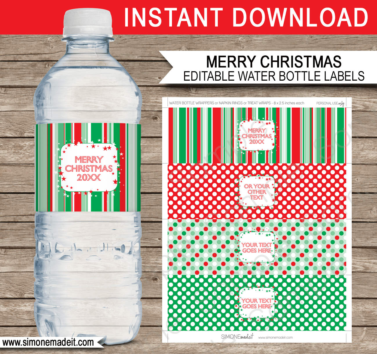Printable Christmas Water Bottle Labels Template – Water Bottle Label Template