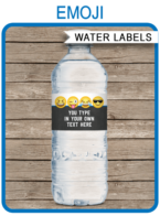 Emoji Theme Water Bottle Labels template – boys