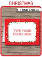 Christmas Party Food Labels Template | Christmas Party Place Cards | DIY Editable & Printable Template | INSTANT DOWNLOAD via simonemadeit.com