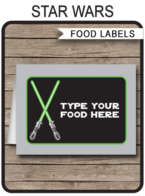 Star Wars Party Food Labels template