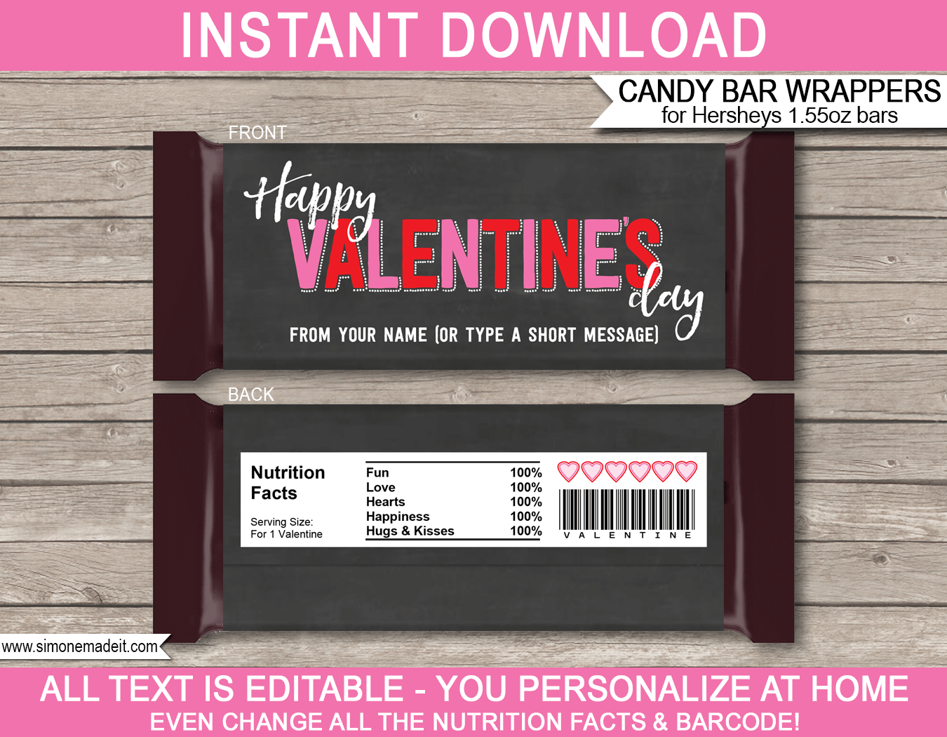 Valentine 39 s day candy bar wrappers personalized for Valentine candy bar wrapper templates