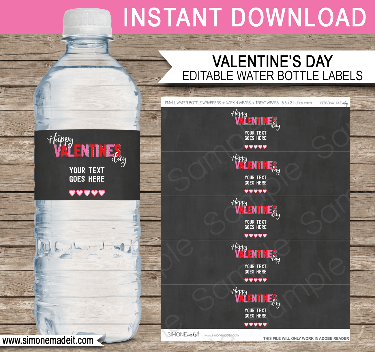 valentine u0026 39 s day water bottle labels template