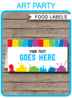 Printable Art Party Food Labels | Food Buffet Tags | Tent Cards | Place Cards | Paint or Art Theme Birthday Party Decorations | DIY Editable Template | Instant Download via simonemadeit.com