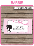 Barbie Party Food Labels template