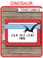 Dinosaur Party Food Labels template – red, blue & black
