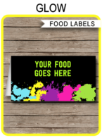 Printable Neon Glow Party Food Labels | Food Buffet Tags | Tent Cards | Place Cards | Glow Theme Birthday Party Decorations | DIY Editable Template | Instant Download via simonemadeit.com