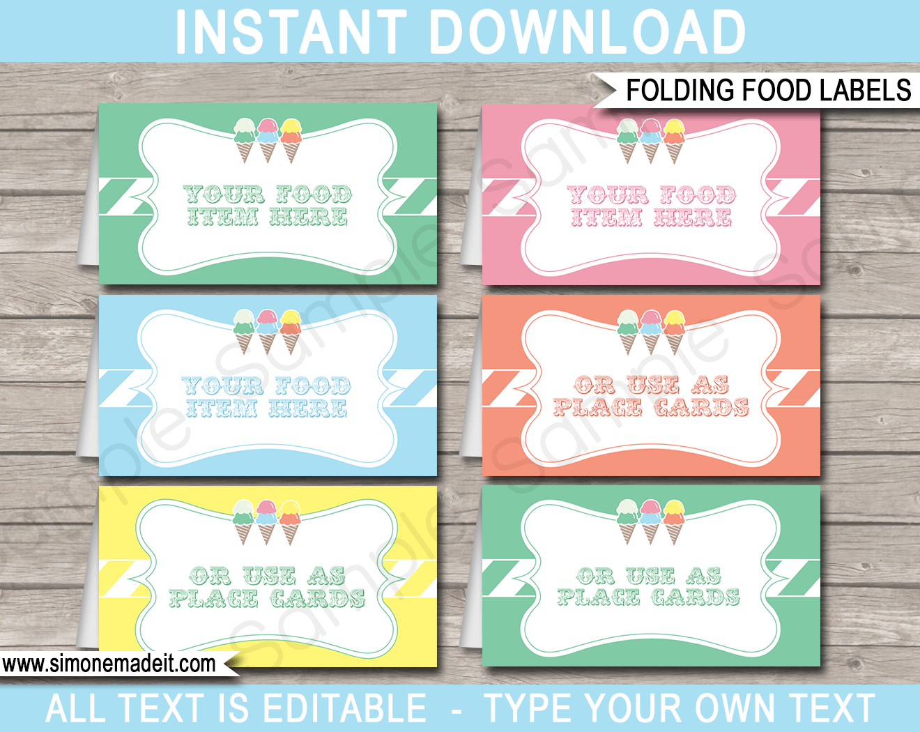 Ice cream party food labels place cards ice cream for Food label template for party