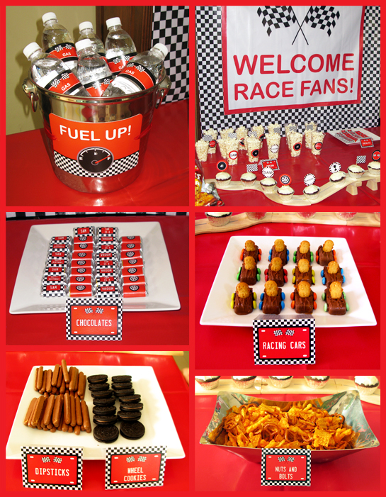 Race Cars Birthday Party Food Table