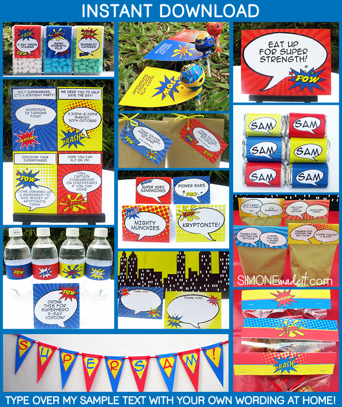 Superhero Birthday Party Invitations & Decorations