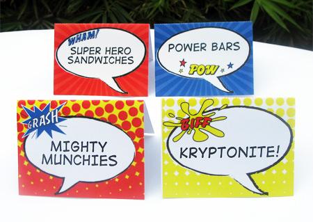 Superhero Party Food Labels   Printable Template