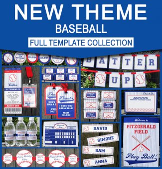 Baseball Birthday Party Printables - Editable Templates
