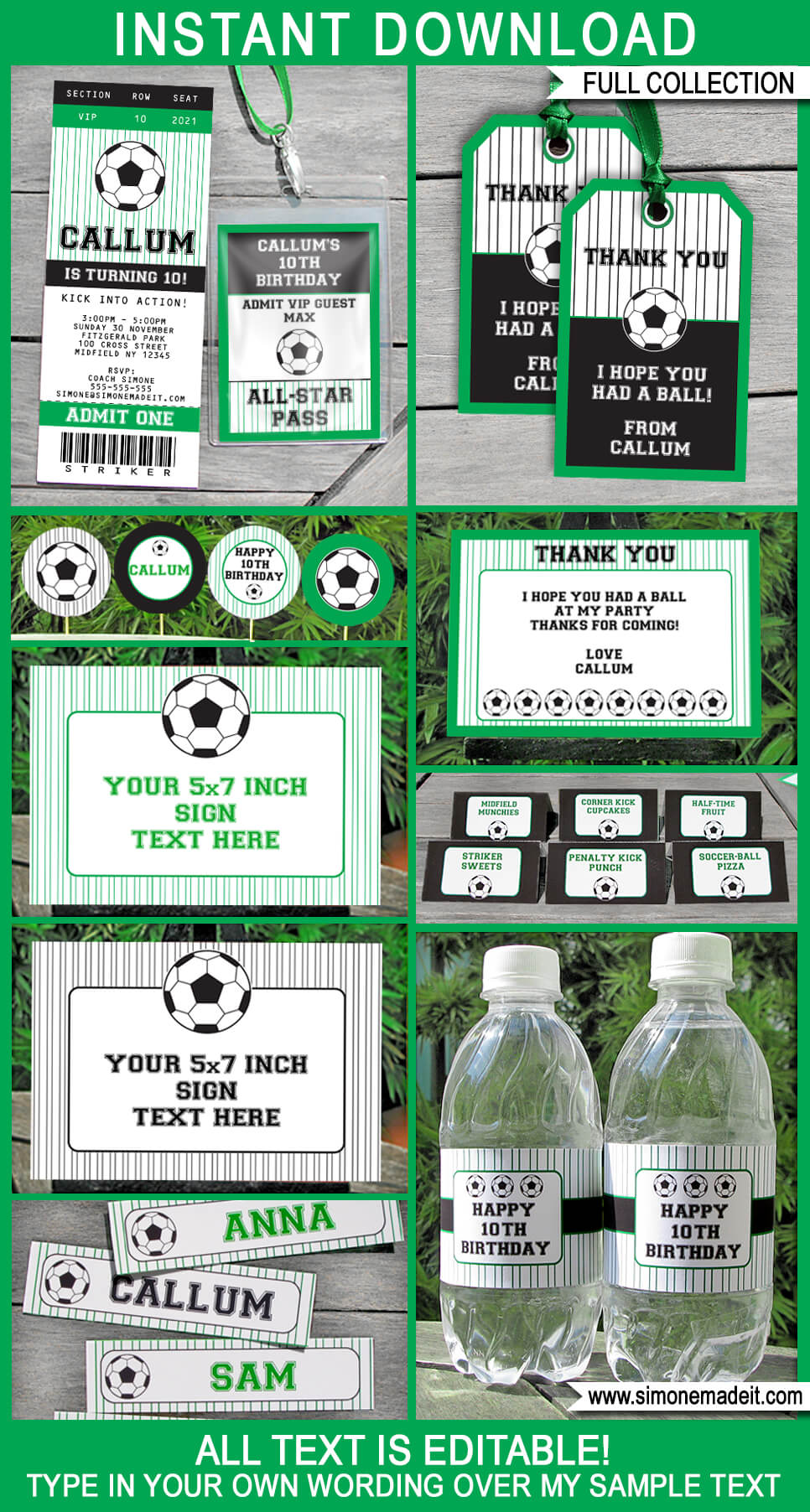Soccer Party Printables, Invitations & Decorations | Editable Birthday Party Theme Templates | INSTANT DOWNLOAD $12.50 via SIMONEmadeit.com