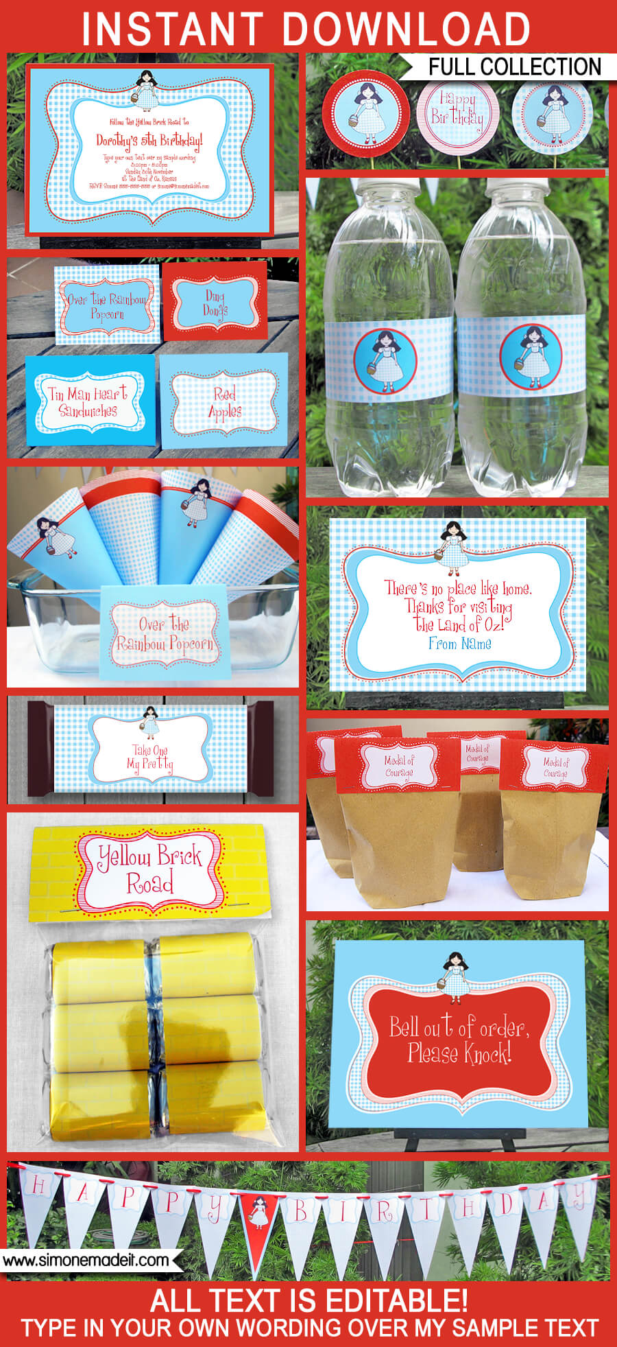 Wizard of Oz Party Printables, Invitations & Decorations | Editable Birthday Party Theme Templates | INSTANT DOWNLOAD $12.50 via SIMONEmadeit.com