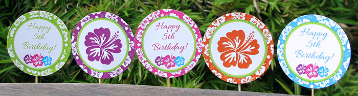 Luau Birthday Party Cupcake Toppers | Printable Template