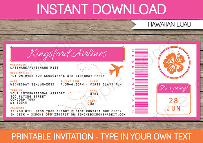 LUAU BOARDING PASS INVITATIONS