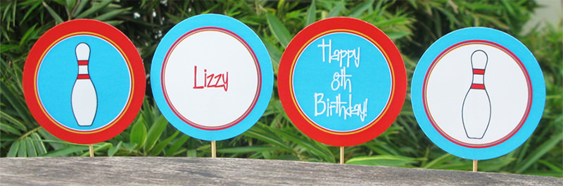 printable bowling cupcake toppers