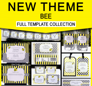 Bee Birthday Party Printables - Editable Templates