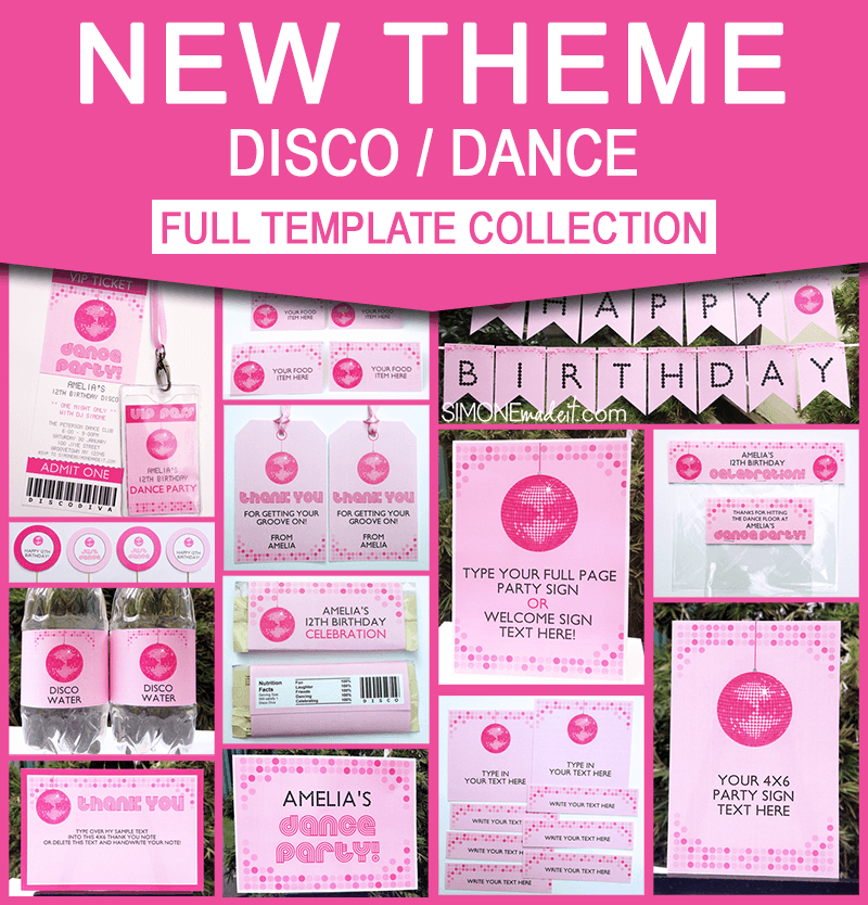 Disco Dance Party Invitations Decorations - Disco birthday invitation templates free