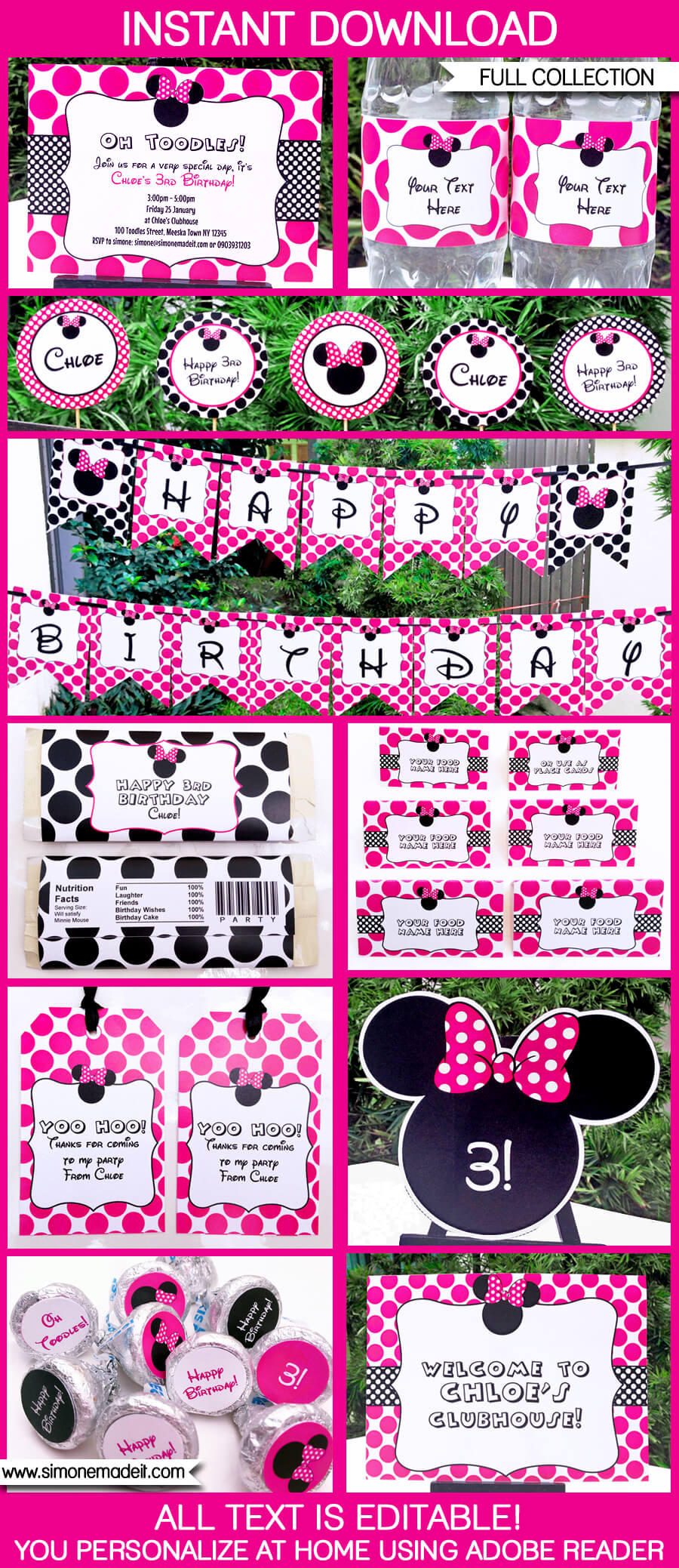 Minnie Mouse Party Printables, Invitations & Decorations | Editable Birthday Party Theme templates | $12.50 via SIMONEmadeit.com