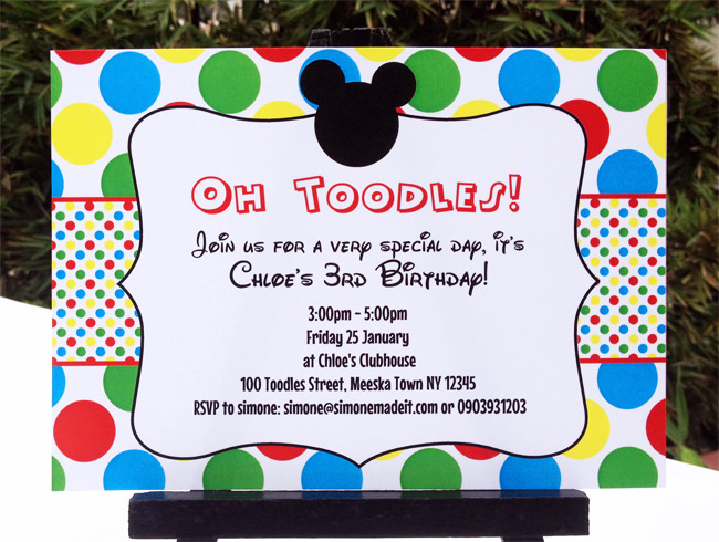 Mickey Mouse Clubhouse Printable Invitation Party Decorations .