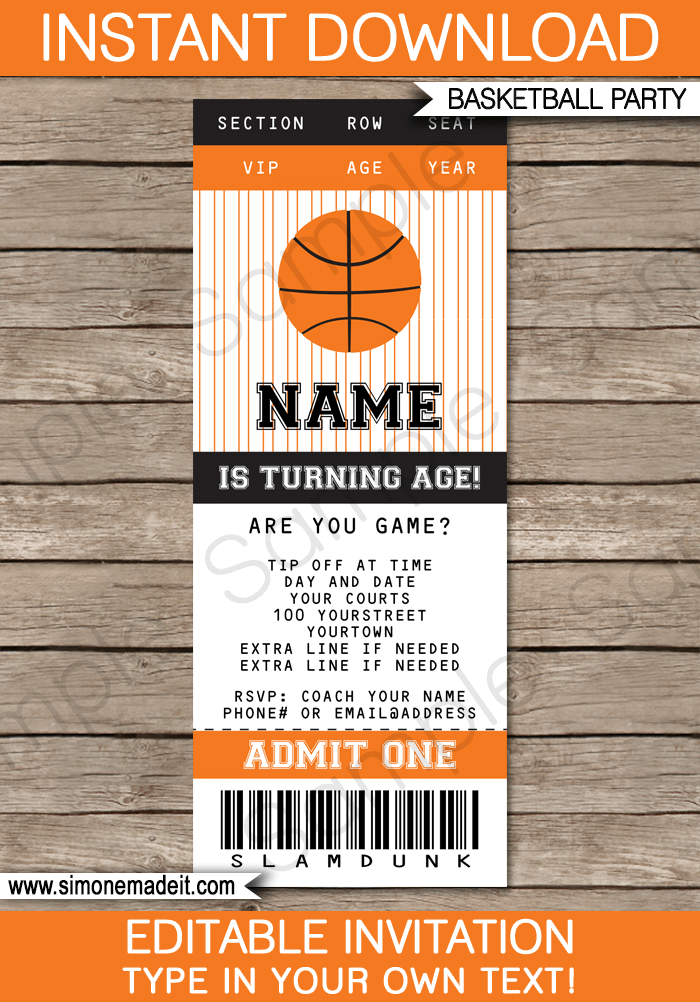 Basketball Ticket Invitation Template | Birthday Party Invitations | Team  Parties | March Madness | Editable