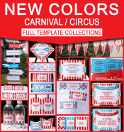Carnival Birthday Party Printables - Editable Templates