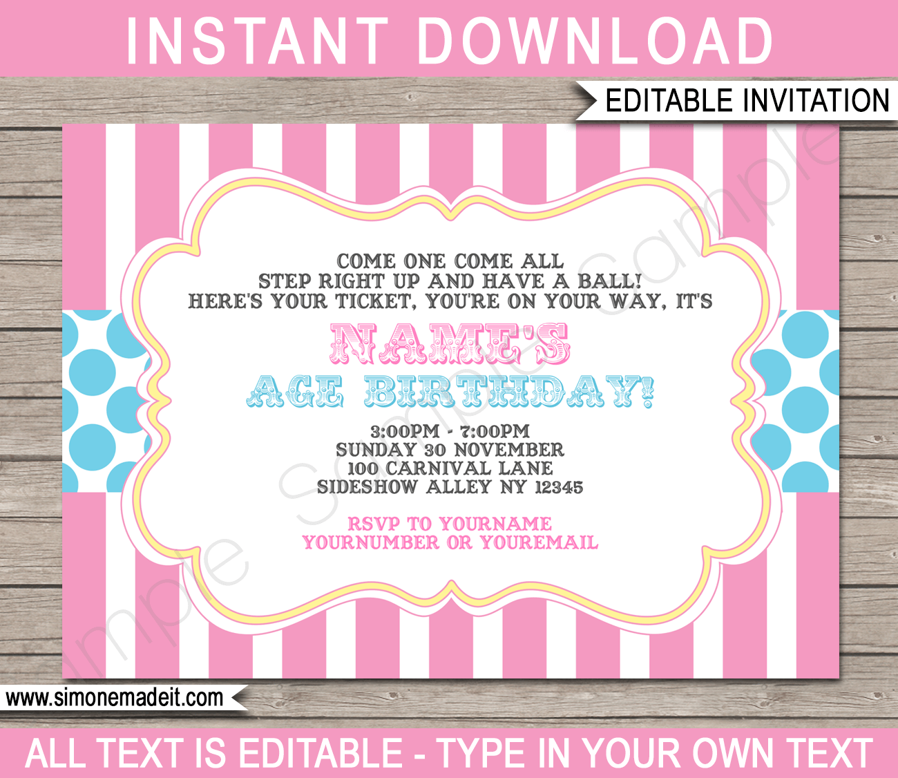 carnival party invitations template pink aqua birthday