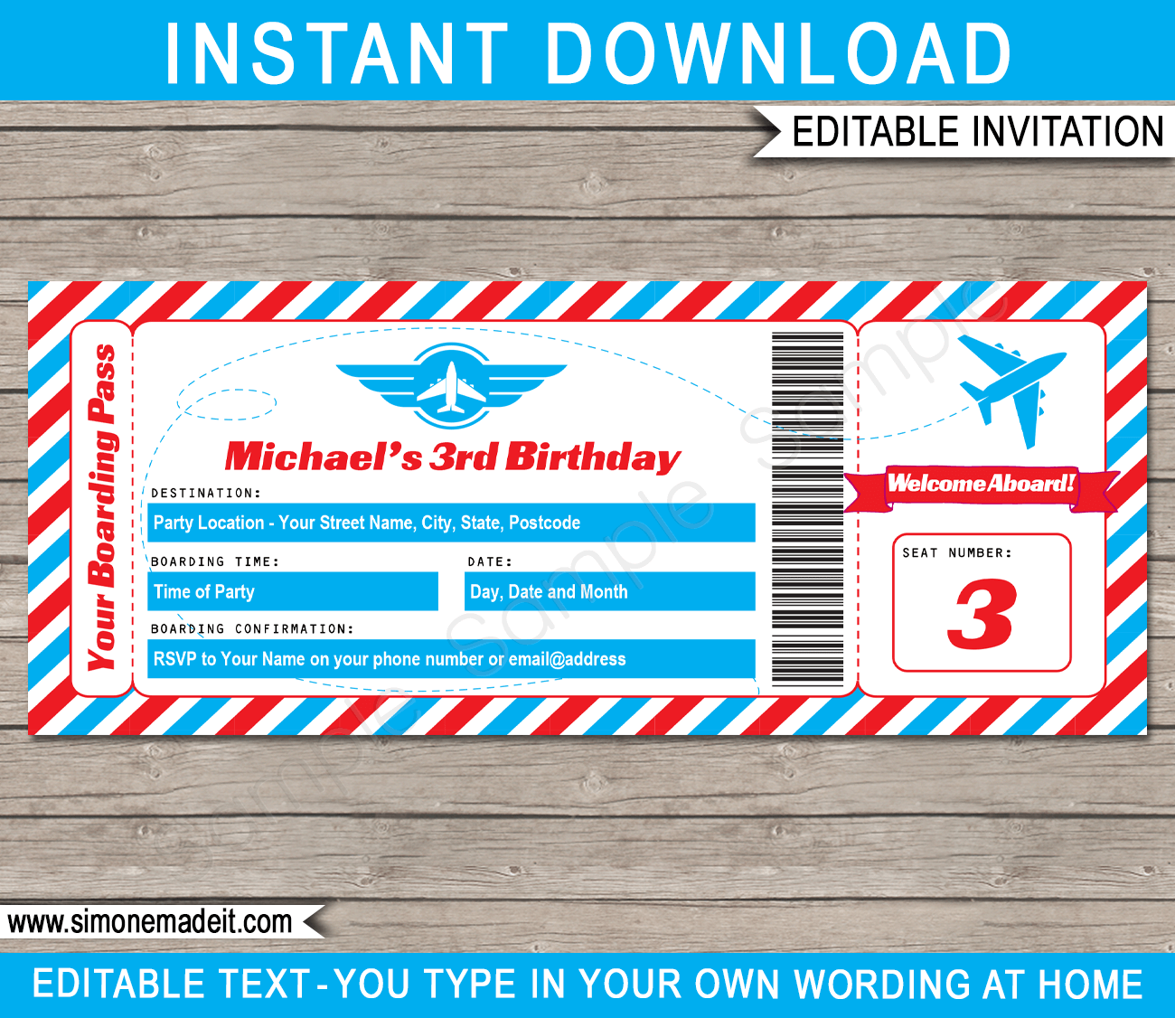 Airplane ticket invitations template airplane party for Ticket invitation template free