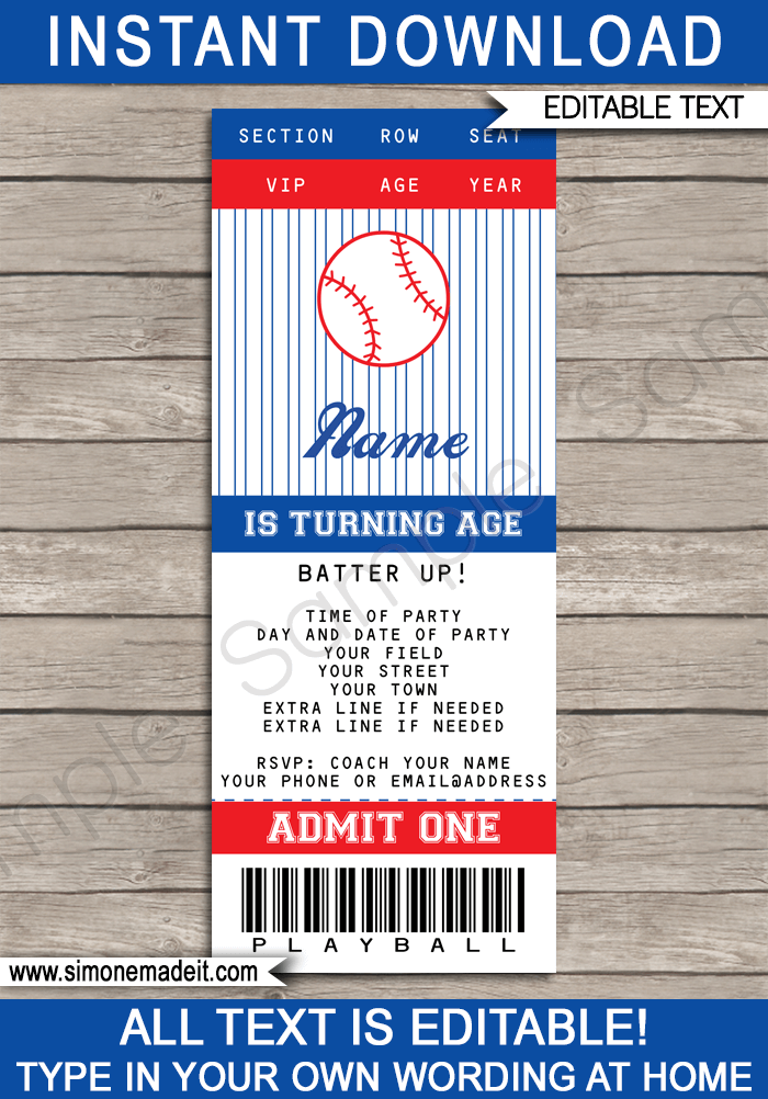 Baseball Ticket Invitation Template  Concert Ticket Template Free Printable